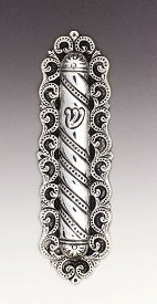 Silver Mezuzah Case Curl