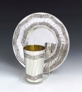 Silver Wine Cup Set Leaves