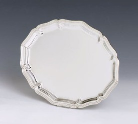 Silver Tray English Scalloped