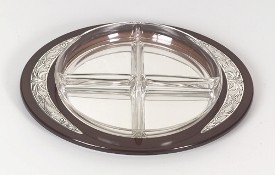 Silver & Wood Serving Tray